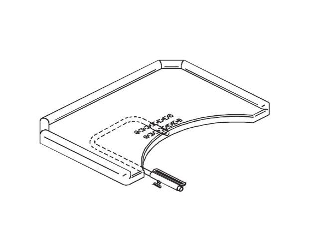 Ensemble tablette polyester avec rebords et découpe